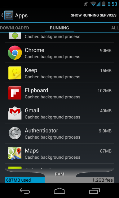 android cached background processes