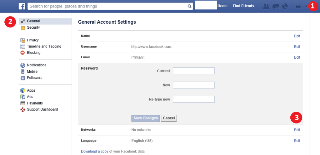 how to change facebook password on tablet