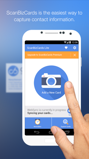 5 free business card scan store apps for android ios and windows phone scanbizcards lite is the next business card scanning app in our list this app is probably the easiest way to capture images of business card with just a reheart Images