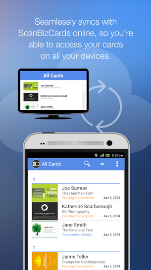 App for cards carsjp 5 free business card scan apps for android ios and windows phone reheart Images