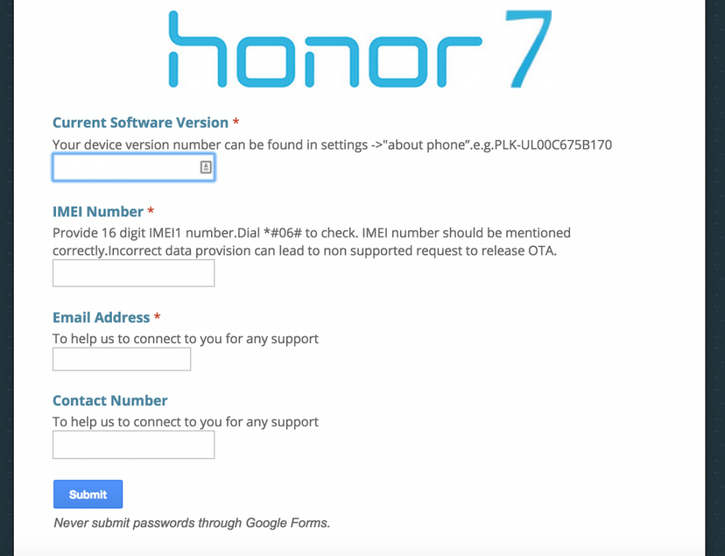 Honor7 Form