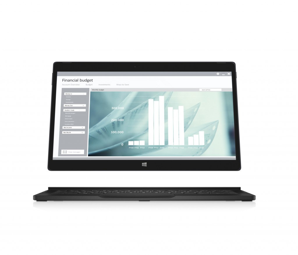 Dell Latitude 12 7000 Series (Model 7275) 2-in-1 notebook computer, shown with tablet screen hovering above Mobility Dock keyboard attachment. Screenfill: 'screenfills_usage_productivity_financialbudget_bar_graph' set as default.