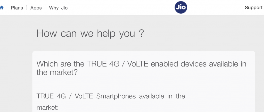 4G Phones Supported On JIO Network