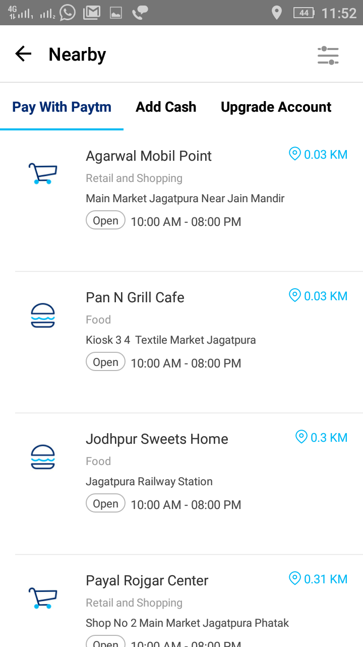 Nearby Vendors Accepting Paytm