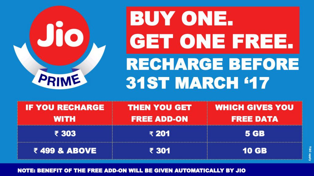 Reliance Jio Prime Buy One Get One Offer