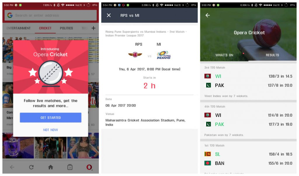 Opera Mini Cricket