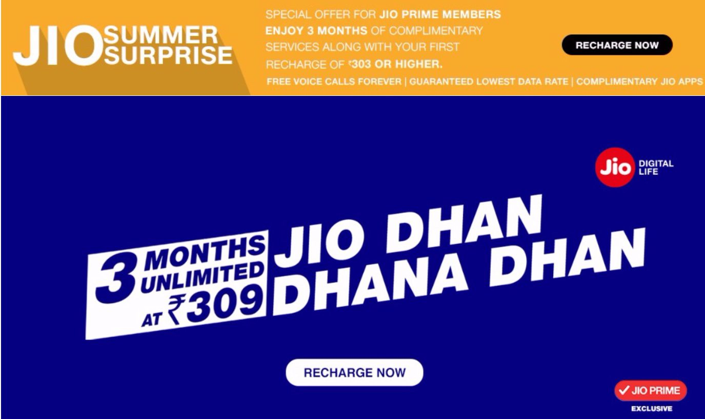 Reliance Jio Summer Surprise Offer Vs Dhan Dhan Dhan Offer