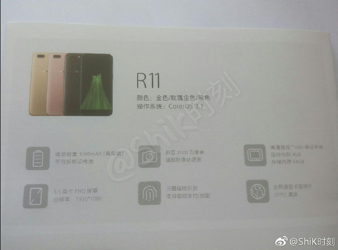Oppo R11 Specifications