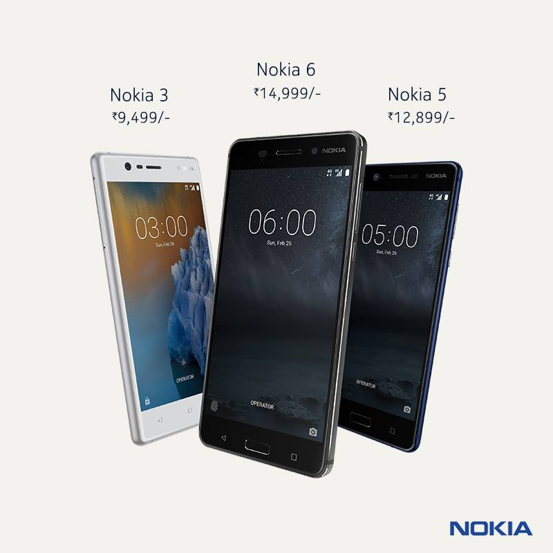 Nokia 6, 5, 3 India prices