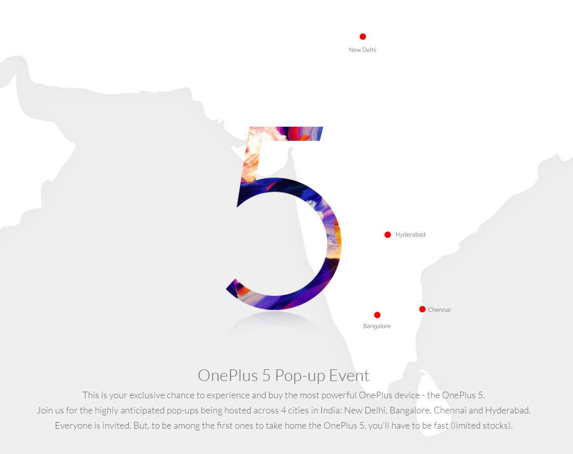 OnePlus 5 Pop-up Events Announced For 4 Indian Cities ...