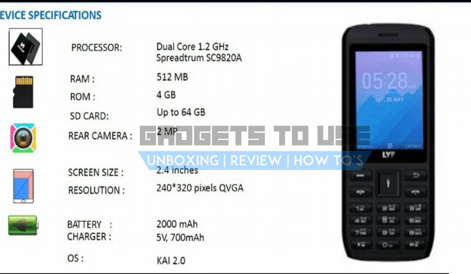 Reliance Jio Lyf 4G VoLTE Feature Phone specs