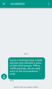 Airtel Network outage