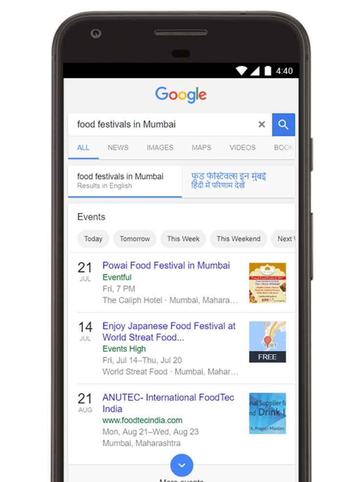 Google Events Search