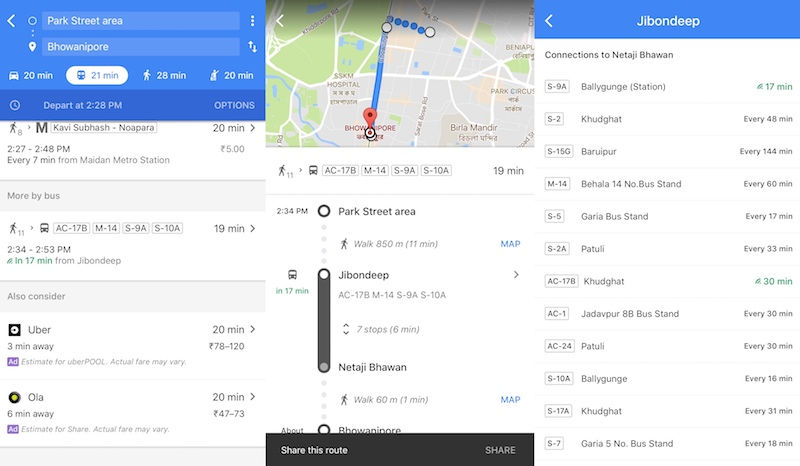 Google Maps Real time bus arrival update