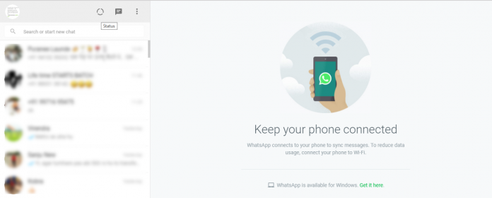 Whatsapp desktop status feature