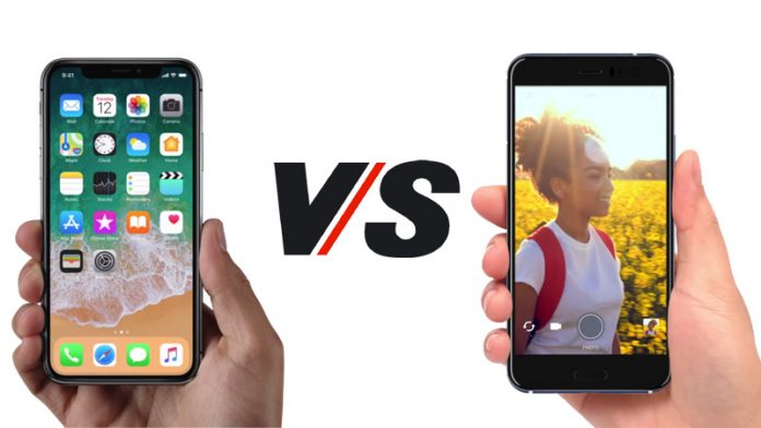 Apple iPhone X and HTC U11
