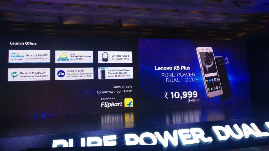 Lenovo K8 Plus launch offers