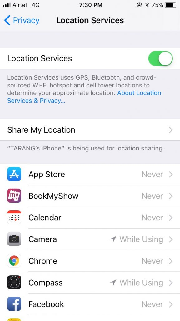 iOS 11 location services