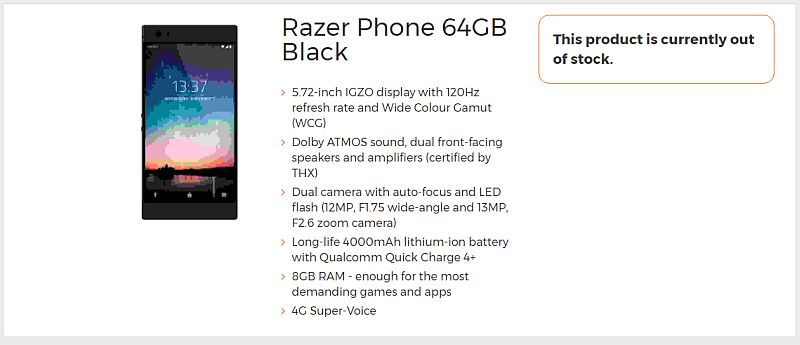 Razer Phone leaked specifications