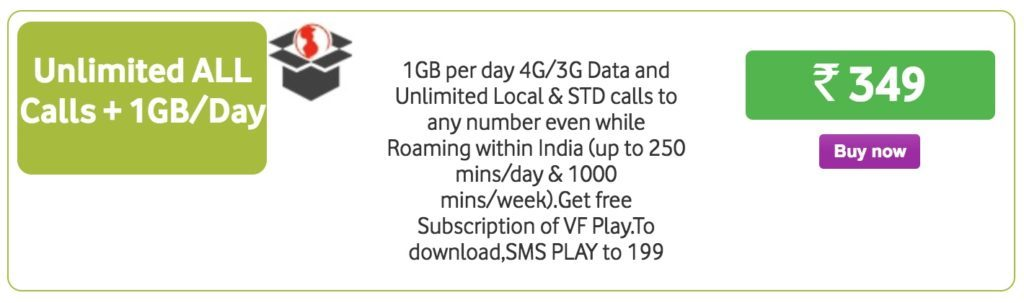 Vodafone 349 plan unlimited calls