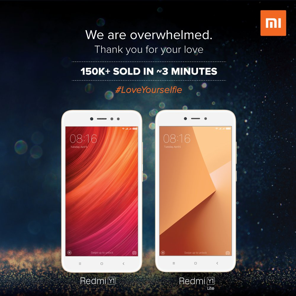 Xiaomi Has Announced That It Sold More Than 15 Lakh Units Of The Redmi Y1 And Lite Within Three Minutes Flash Sale