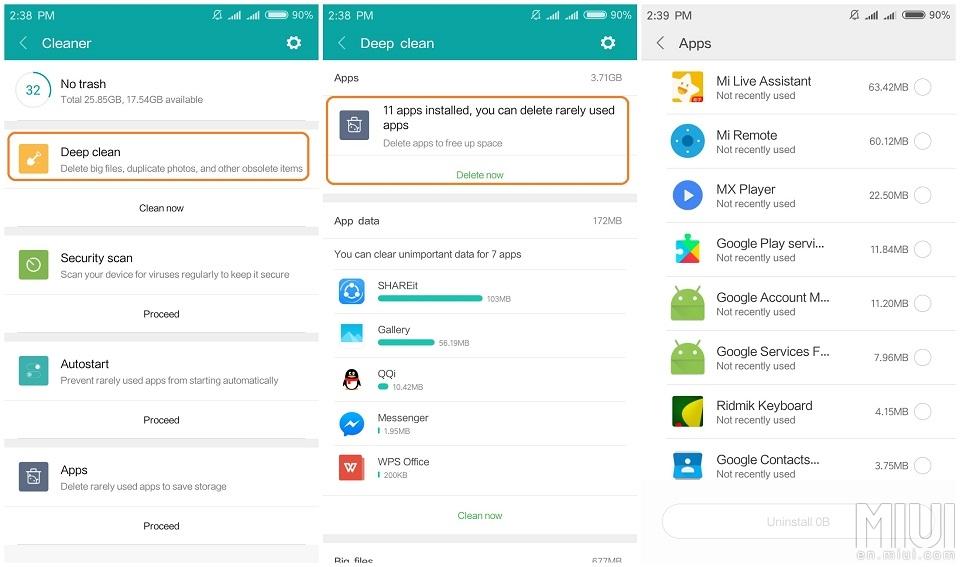 5 MIUI 9 tricks to clean up storage space in Xiaomi phones