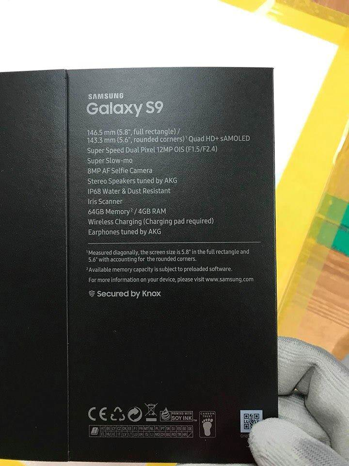 Samsung Galaxy S9 box leaked