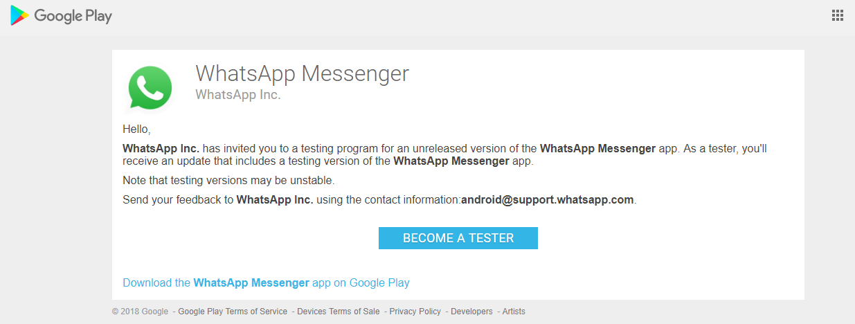 how to become a beta tester for whatsapp