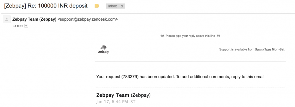 Zebpay  - Zebpay support request 1024x373 - Do not use Zebpay for Bitcoin