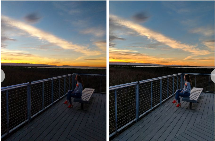 Image taken without Pixel Visual Core (left) and with Pixel Visual Core (Right)