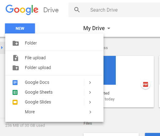 first you need to upload your pdf file to your google drive in order to edit it click on new file upload and browse to the location where the file is