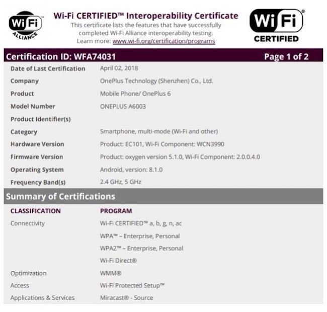 OnePlus-6-WiFi-Certification-