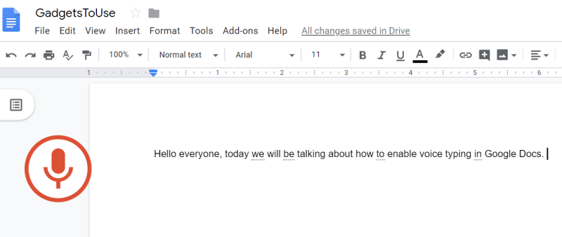 How to use voice typing feature in Google Docs