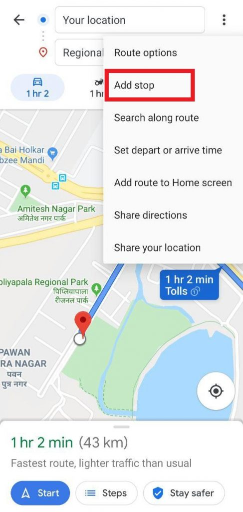 Add multiple stops in Google Maps