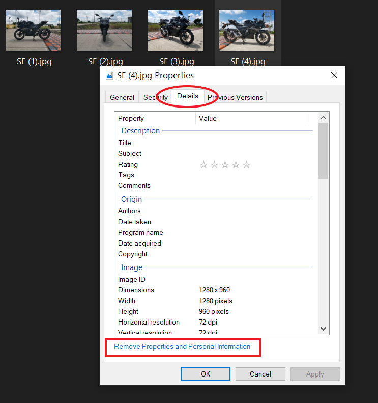 Remove Location and Other Data from Photos on Windows