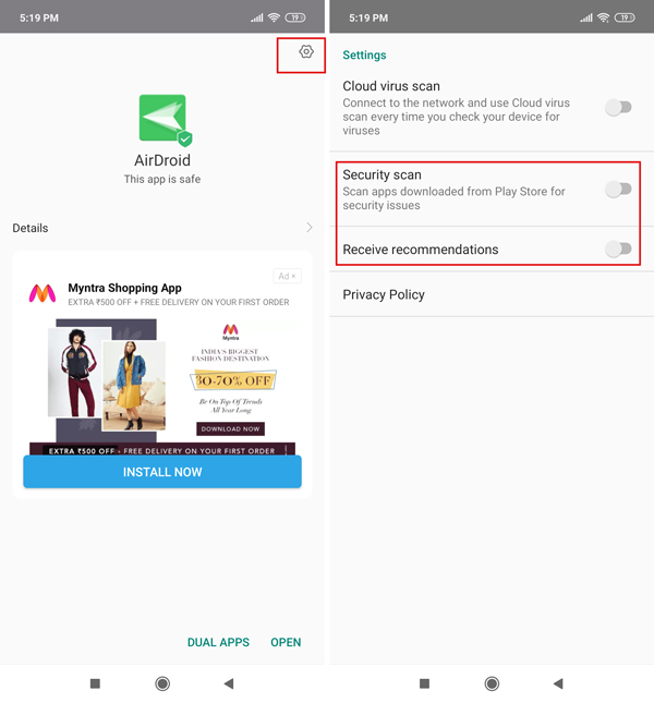 Disable MIUI Virus Scan for Play Store Apps