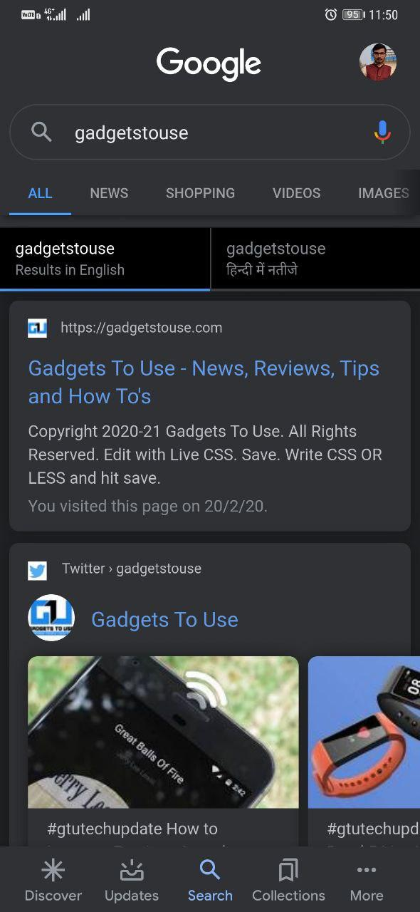 Dark Mode in Google App
