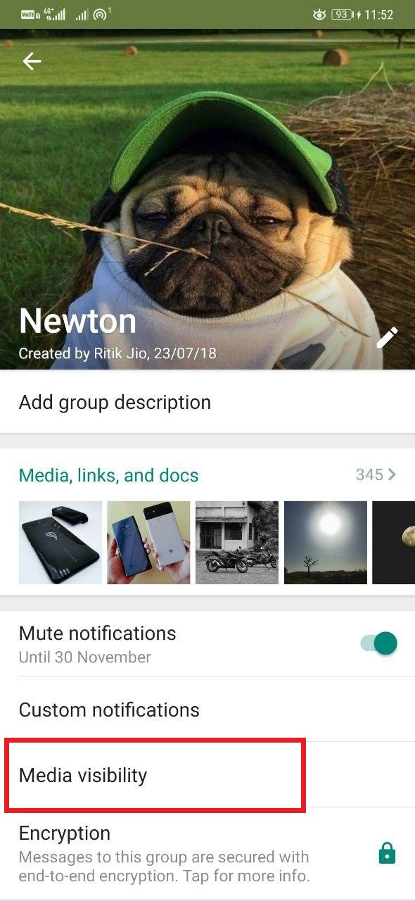 Hide WhatsApp Photos and Videos from a particular contact or group