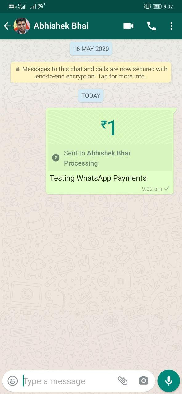 Send Money using WhatsApp Payments