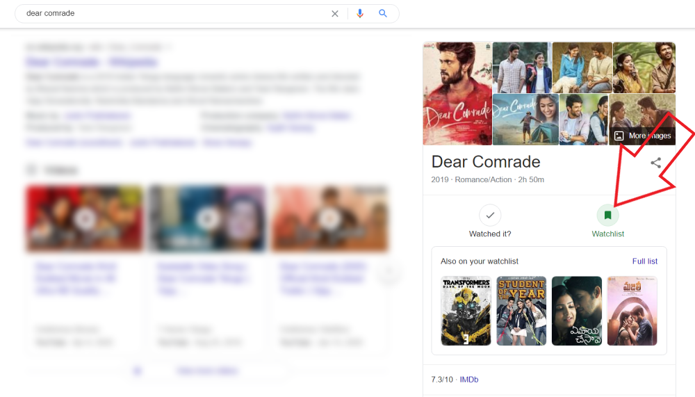 Create Movies & TV Shows Watchlist in Google Search