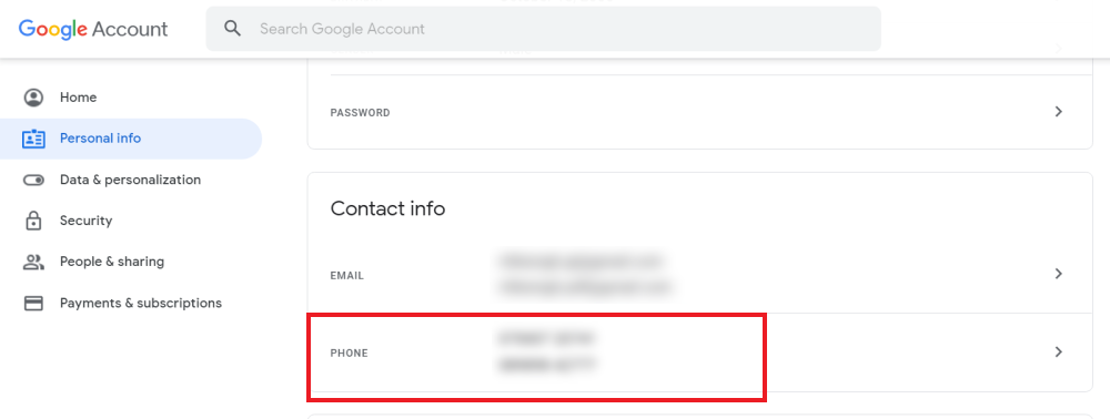 change Phone Number in Google Account