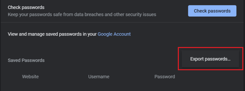 Export Passwords from Google Chrome
