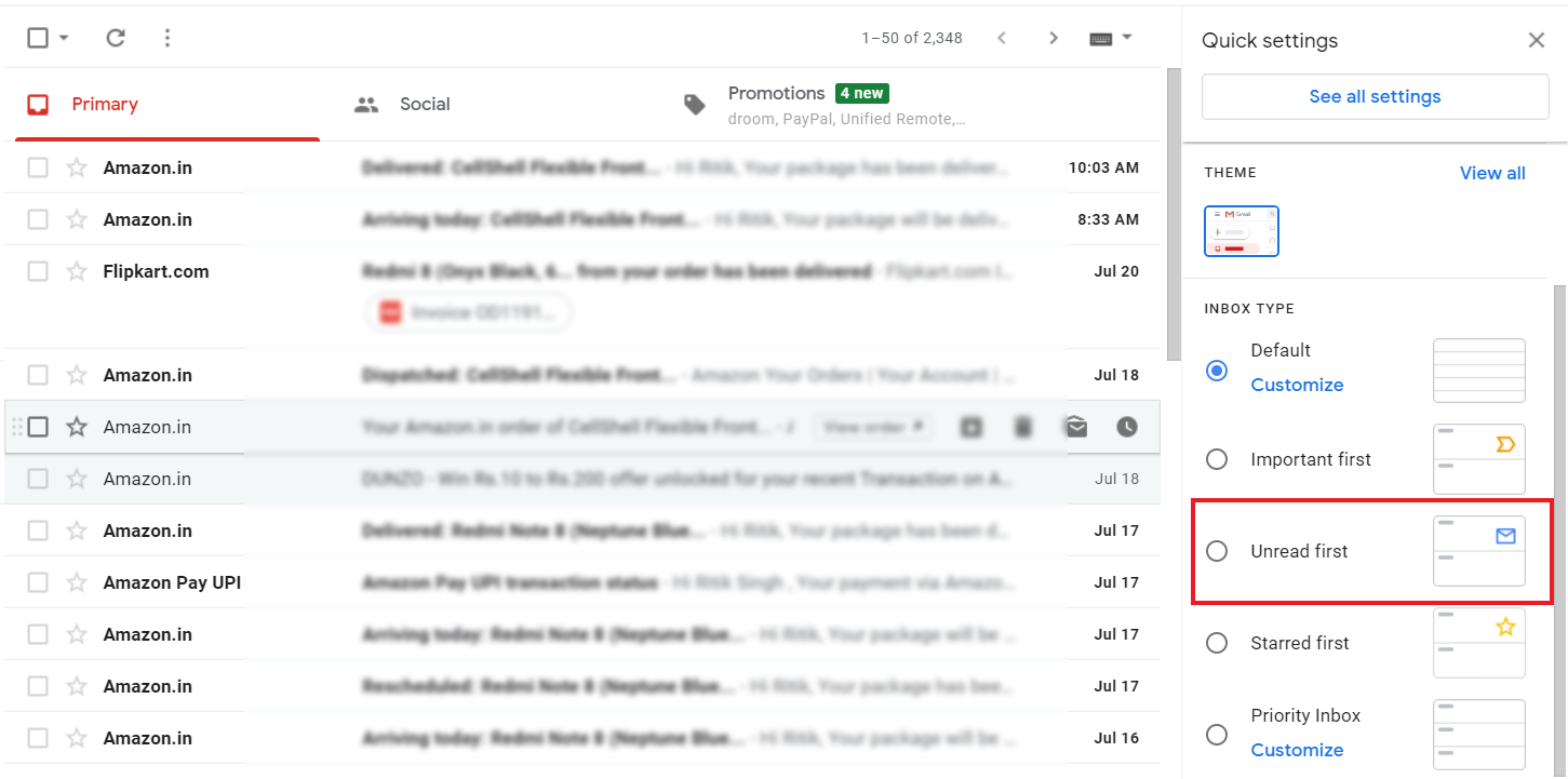 Keep Unread Emails On Top in Gmail