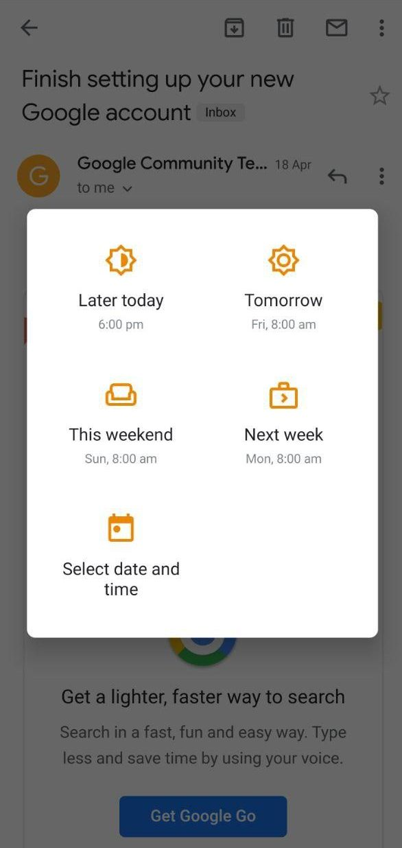 Snooze in Gmail App