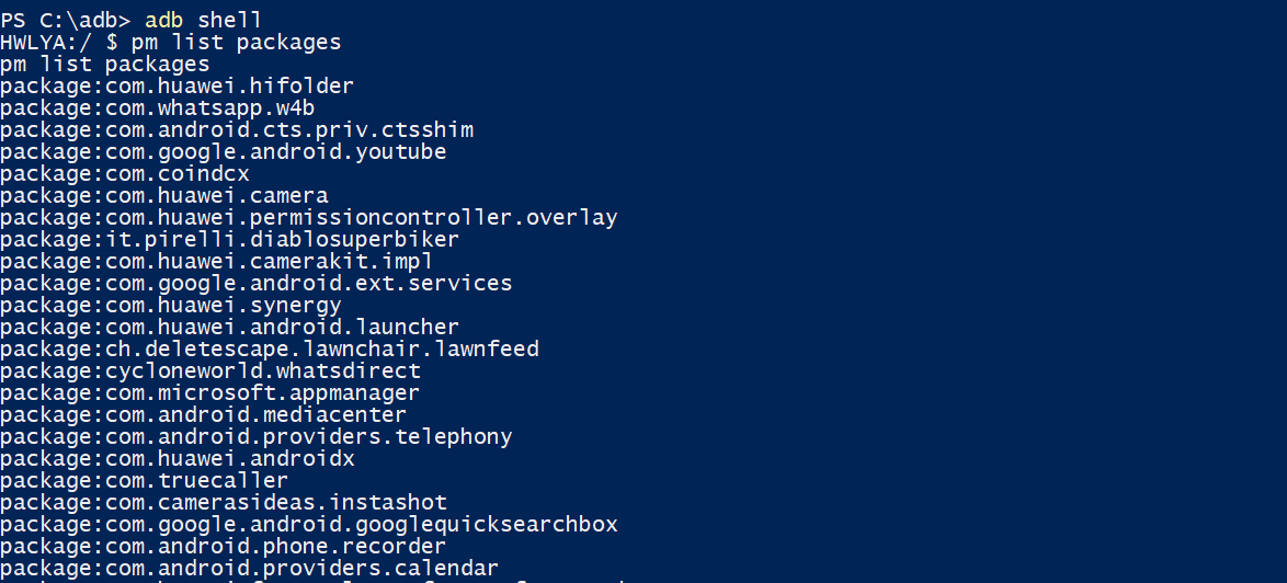 List All Packages ADB