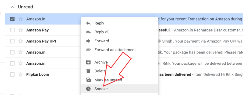 Snooze Email in Gmail Web