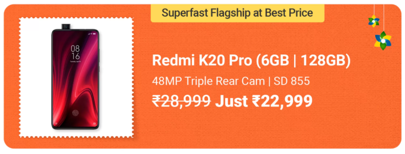 Redmi K20 Pro- Best Smartphone Deals in Flipkart Big Saving Days Sale