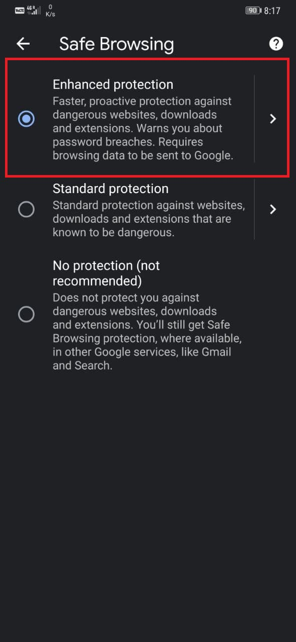 Enable Enhanced Safe Browsing on Chrome for Android