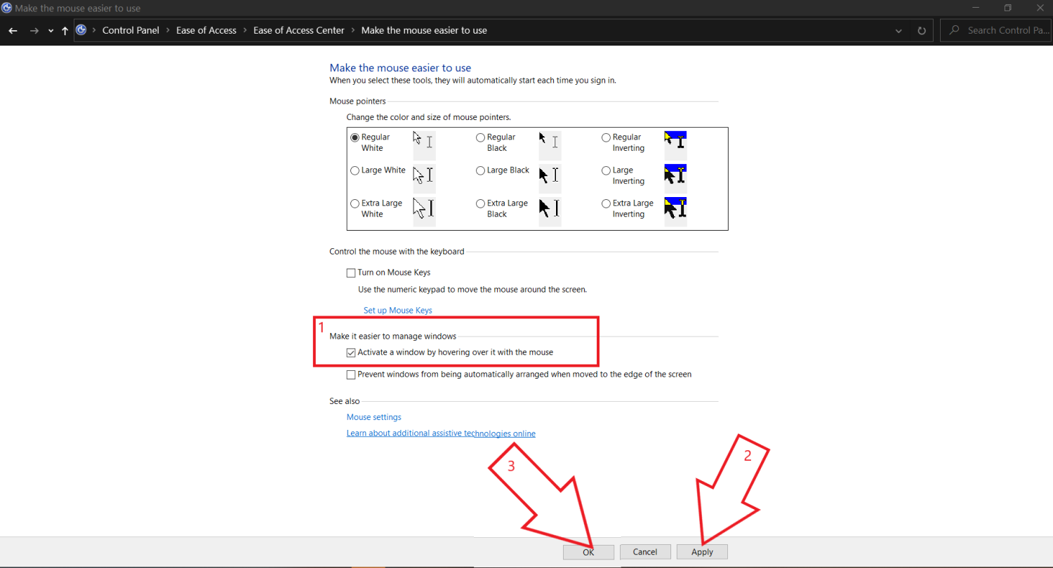Stop Auto-Select On Hovering Mouse in Windows 10