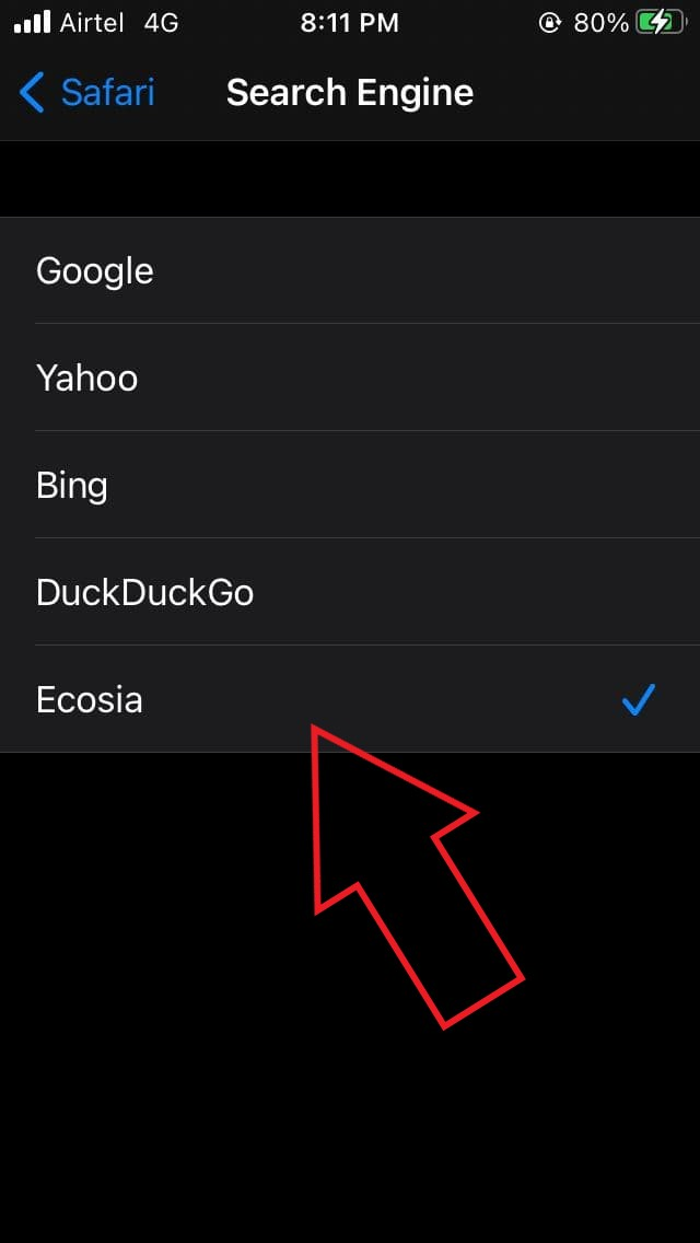 Set Ecosia as the Default Search Engine